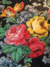 Coupon Tissu Noir/Fleurs Ancien 1930/50 Antique Large Black/roses Flowers Fabric