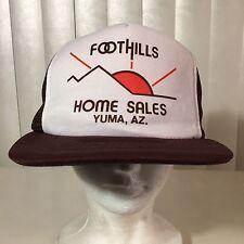 Vtg 80s Never Worn Foothills Home Sales Yuma Arizona Trucker Hat Cap Mesh Brown