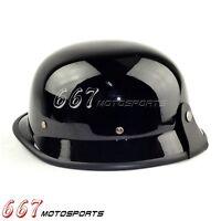 German Classic Motorbike Motorcycle Cruiser Open Face Scooter Helmet Black