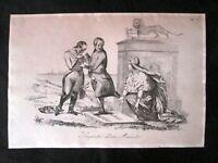 Incisione d'allegoria e satira Mons. Soglia, Radetzky,Venezia Don Pirlone 1851