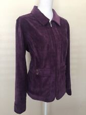Christopher & Banks Purple Zip Up Jacket LARGE Blazer STRETCH Silver Detail