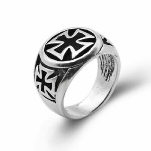 GERMAN Iron Cross Engraved WW2 Militiary size P 1/2 Ring Stainless Steel (8) +
