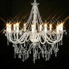 LARGE VINTAGE CHANDELIER 12 ARM VICTORIAN GLASS CRYSTAL LIGHT LAMP IVORY BIG NEW