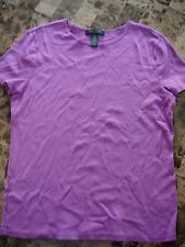 ladies RALPH LAUREN SHIRT purple STRETCHY logo EUC! s/s CASUAL petite large PL