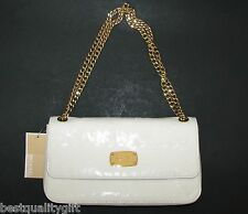 MICHAEL KORS JET SET GOLD TON CHAIN ITEM WHITE MIRROR METALLIC SHOULDER+HAND BAG