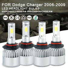 4pc LED Headlight Bulbs Kit 9005 9006 High Low Beam For Dodge Charger 2006-2009