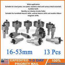 13 Pcs 16-53mm Cemented Carbide Tip Drill Bit Hole Saw Kit Stainless Metal Alloy