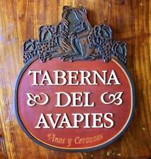 ANTIGUO CARTEL DE MADERA DE TABERNA. ARTESANAL