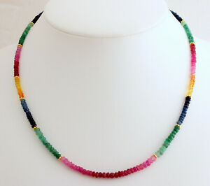 Ruby Sapphire Emerald Necklace Precious Stone Rainbow Necklace Colourful - Color