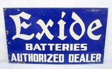 1940 Vintage Old Exide Batteries Dealer Ad Both Side Porcelain Enamel Sign Board