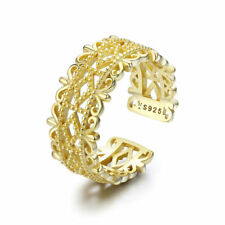 Authentic 925 Sterling Silver Ring Gold Adjustable Women Girls Band Jewelry New