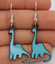 925 Silver Plated Hook - 2'' Blue Dinosaur Diplodocus Oil Painted Earrings #05