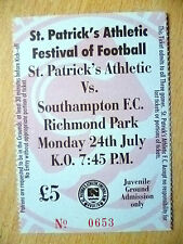 Football Match Tickets: ST. PATRICK'S ATHLETIC v SOUTHAMPTON, 24th July