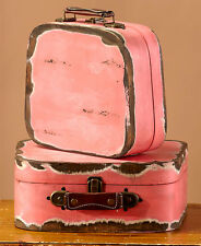 Set Of 2 Rustic Wooden Cases Storage Primitive Suitcases Accent Home Decor Pink