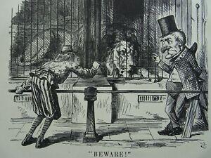 1863 Antique Victorian Print BRITAIN & AMERICA - BEWARE THE LION AIN'T ASLEEP