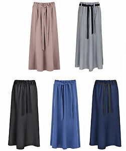 Womens Polyester Skirt 8 Panels Maxi Flare Elasticated Waist Tie Belt 35 In KK53