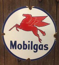 MOBILGAS Porcelain Sign Pump Plate Gas Oil Station Barn Mobil Pegasus VINTAGE