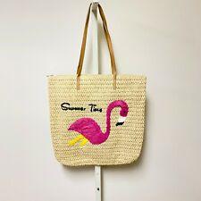 Women's Straw Tote Bag One Size Flamingo Zipper Closure Summer Fashion Accessory