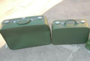 Vintage Amelia Earhart Avocado Green 2 Pieces Med & Large Rectangle Luggage