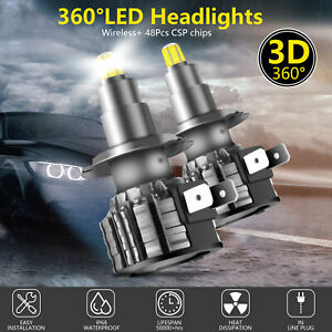 2Pcs 4Sides H7 Led Car Headlights Bulbs 360 Degree Full Emitting Conversion Kit