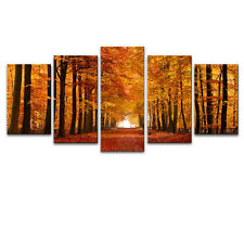 Modern Landscape Art Print on Canvas Poster Wall Home Decor Autumn Forest Framed