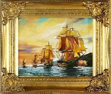 Gemälde Ölbild Bild Ölbilder Rahmen Bilder Seefahrt Schiffe Meer Ölgemälde 02141