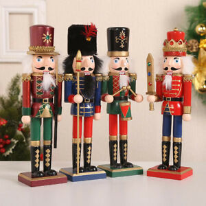 Set of 4 CHRISTMAS DECORATION WOODEN SOLDIER NUTCRACKER 12 INCH ORNAMENTS