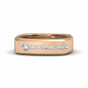 14K Solid Rose Gold Mens Band 0.50 Ct Real Diamond Engagement Ring Size R T U V