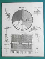 BEER MAKING Brewery Mash Tun Construction Brewery - 1811 Antique Print