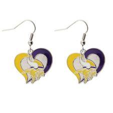 Minnesota Vikings NFL Silver Swirl Heart Dangle Earrings