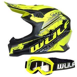 Wulfsport Cub Pro Kids Motocross Helmet + Childrens Goggles MX Yellow Off  Road