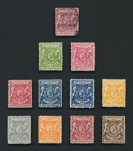 BRITISH EAST AFRICA STAMPS 1896 QV TO 5r MINT NO GUM, INC 3r SPECIMEN USED