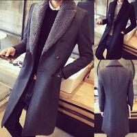 Men's Fur Lapel Collar Trench Overcoat Wool Warm Coat Long Jacket Parka Outwear