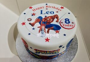 Edible Icing Spiderman Small Personalised Boys Superhero Cake Topper & 5 extra's