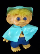 "Vtg 8"" Large Thomas Troll Bank Rain Coat Hat Eyes Blue Belly Button Blond Hair"