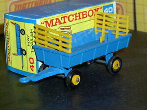 Matchbox Lesney Farm Hay Trailer 40 c1 blue yellow racks SC5 VNM & crafted box