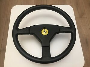 Momo Ghibli 3 spoke leather steering wheel original FERRARI 348 with hub RARE