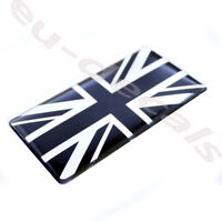 Black  Chrome Union Jack flag 3D Decal domed 7cm for Triumph Thruxton Bonneville