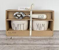 Rae Dunn YUM and SWEET Ice Cream Bowls and SCOOP Ice Cream Scoop 3pc Set. HTF!
