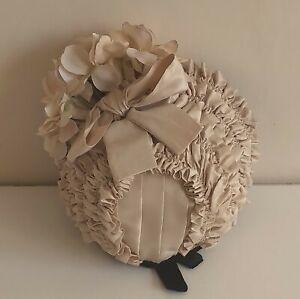 """Silk velvet bonnet for antique French or German doll  21"""" - 22"""""""