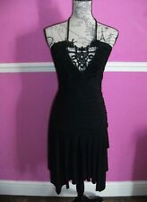 JANE NORMAN stretch body con black summer party halter neck DRESS 10 8 HANKY HEM