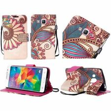 For Samsung Galaxy Grand Prime Leather Bling Flip Wallet Case-Antique Flower