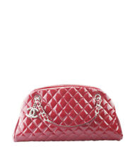 Chanel Just Mademoiselle Bowler Red Quilted Patent Leather Bag