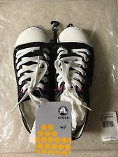 Women's CROCS HOVER LACE UP BLACK AND OYSTER SNEAKER SHOES CANVAS  SIZE US 7 W