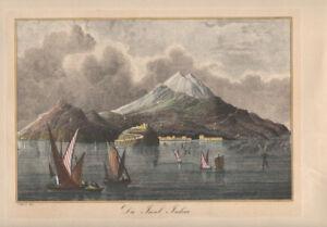 C. REISS DEL - ISLAND ISCHIA ITALY * COLOUR ART PRINT ETCHING 1800ies
