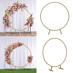150Cm Circle Gold Hoop Arch Stand Metal Wedding Flower Balloon Backdrop Stand UK