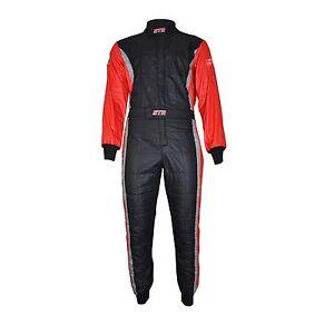 STR Club Race Suit Triple Layer FIA Approved 8856-2000 Black/Red/Grey EU46-68