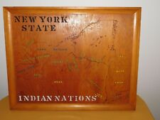 """VINTAGE 24"""" X 19"""" FRAMED  NEW YORK STATE INDIAN NATIONS WOOD WALL PICTURE"""