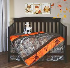Realtree Blaze Orange Camo Crib Set, Baby Toddler Bedding, Quilt Sheet Skirt