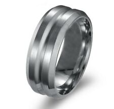 WEDDING BAND Mens 8mm Stainless Steel Titanium Indented Centre Fashion Ring